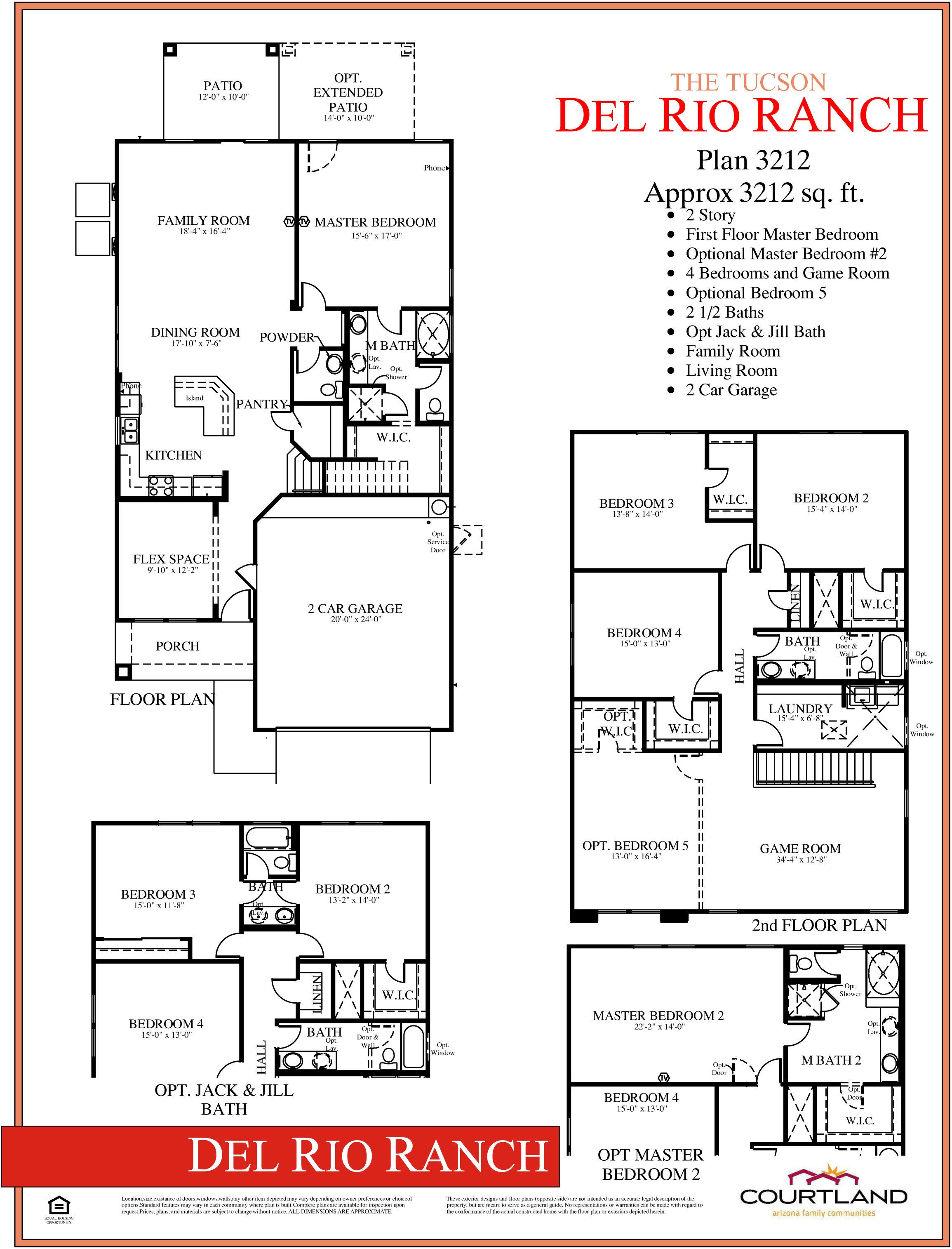 Courtland tucson plan 3212 rv garage homes for Tucson home builders floor plans
